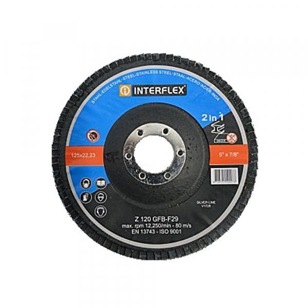 Fächerschleifscheibe Ø125 x 22,23mm gewölbt K120