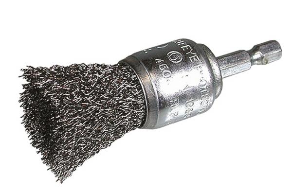 """Pinselbürste 1/4"""" 6KT Draht 0,3mm 25mm, gewellt"""